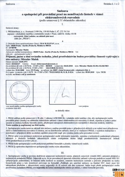 Dlouhodobá smlouva s PRE - strana 1